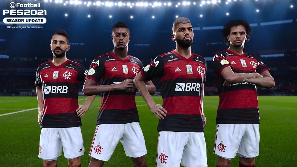 Flamengo é um dos clubes parceiros do PES 2021 e aparecerá logo na primeira versão do eFootball 2022 — Foto: Divulgação/Konami