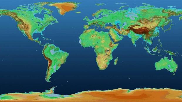O mapa mostra variações de altitude na superfície terrestre ao longo de mais de 148 milhões de km² (Foto: DLR)