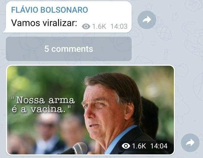 Senador Flávio Bolsonaro (Republicanos--RJ), filho do presidente, pediu que apoiadores divulgassem defesa da vacina contra Covid-19