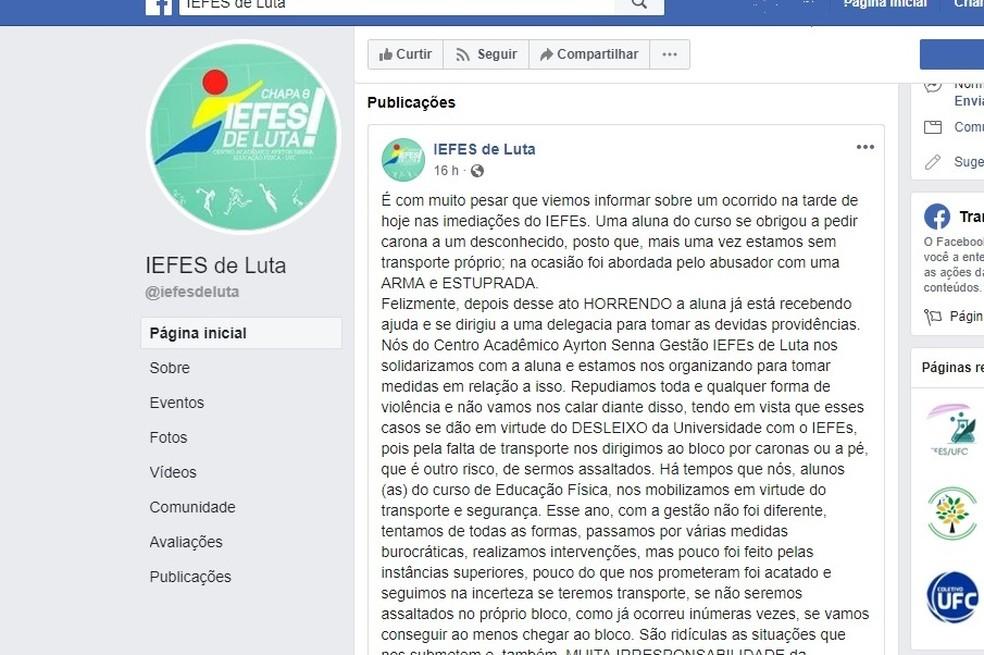 Centro acadêmico denunciou caso em nota em rede social — Foto: Facebook/Reprodução