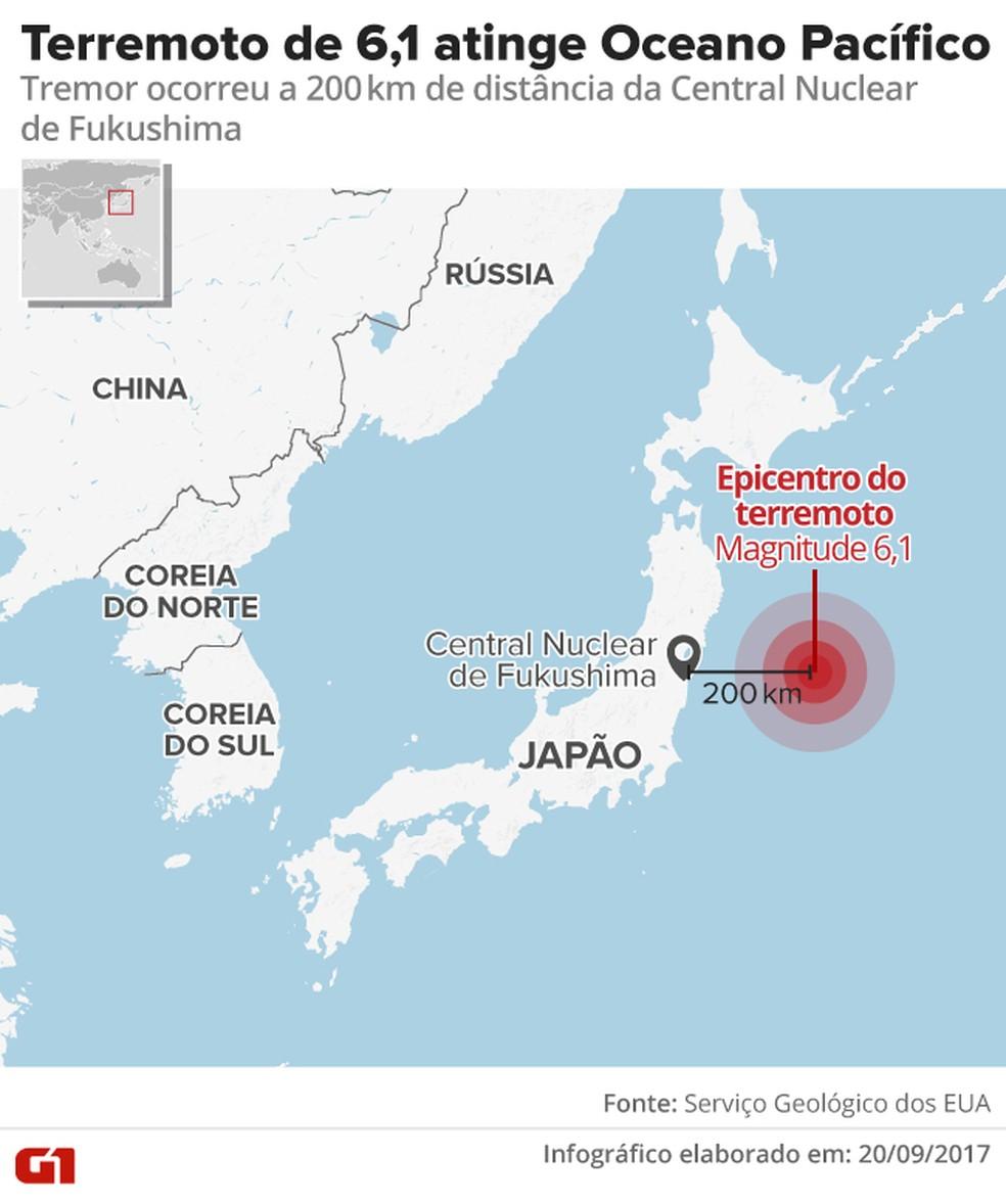 Terremoto atinge  (Foto: Infográfico/G1)