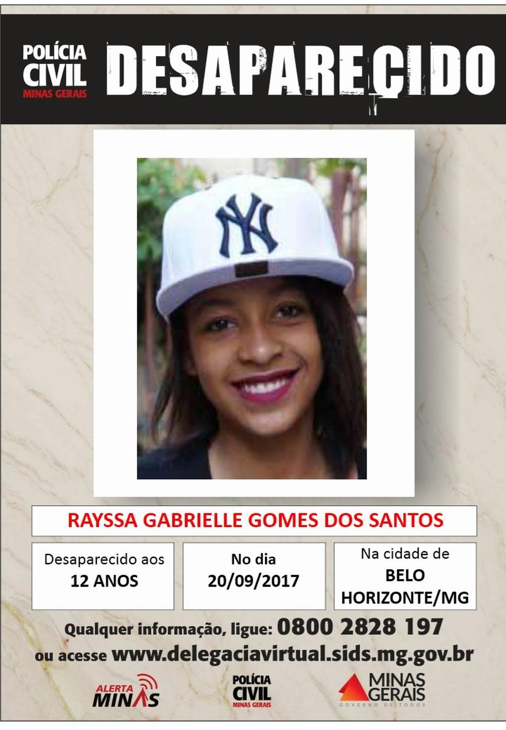Rayssa Gabrielle Gomes dos Santos, de 12 anos (Foto: Polícia Civil/Divulgação)