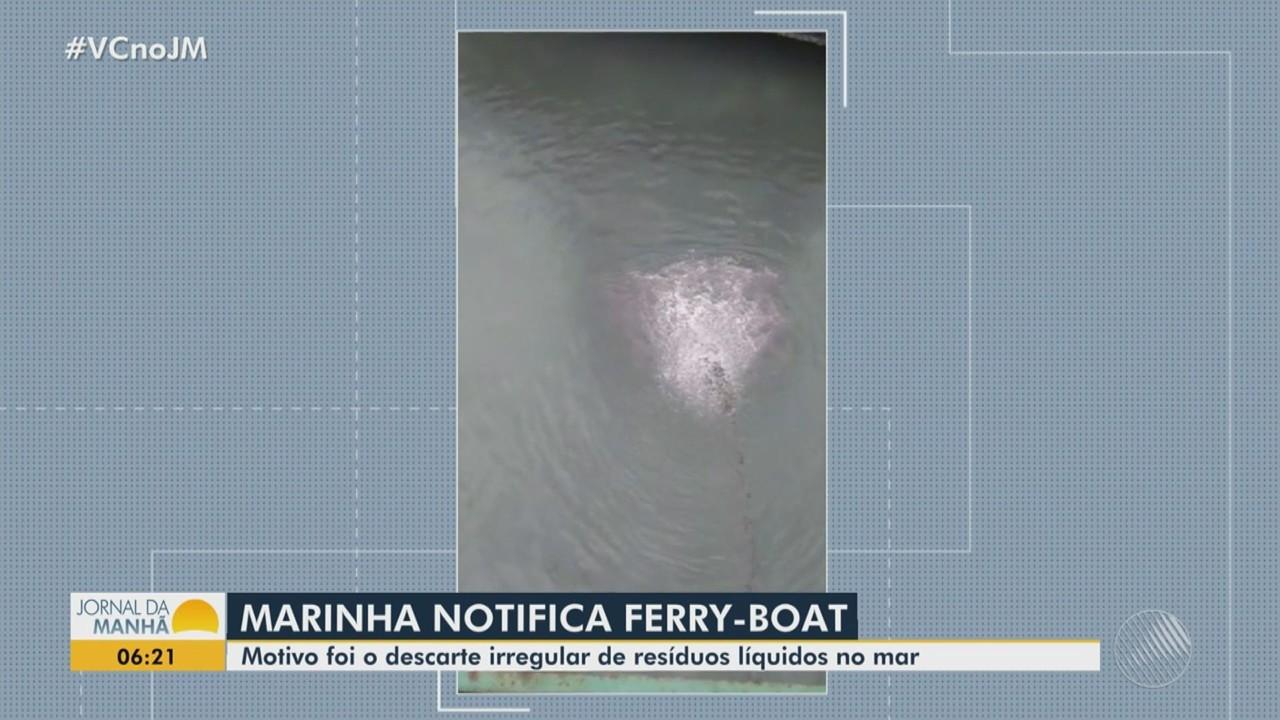 Marinha notifica empresa responsável pelo ferry boat após despejo de rejeitos no mar