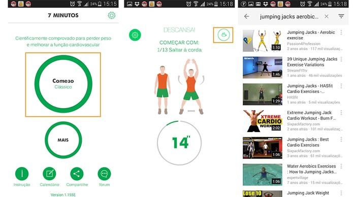Comece seu treino de forma simples e se tiver dúvidas o app encaminha para vídeos do YouTube (Foto: Reprodução/Barbara Mannara)