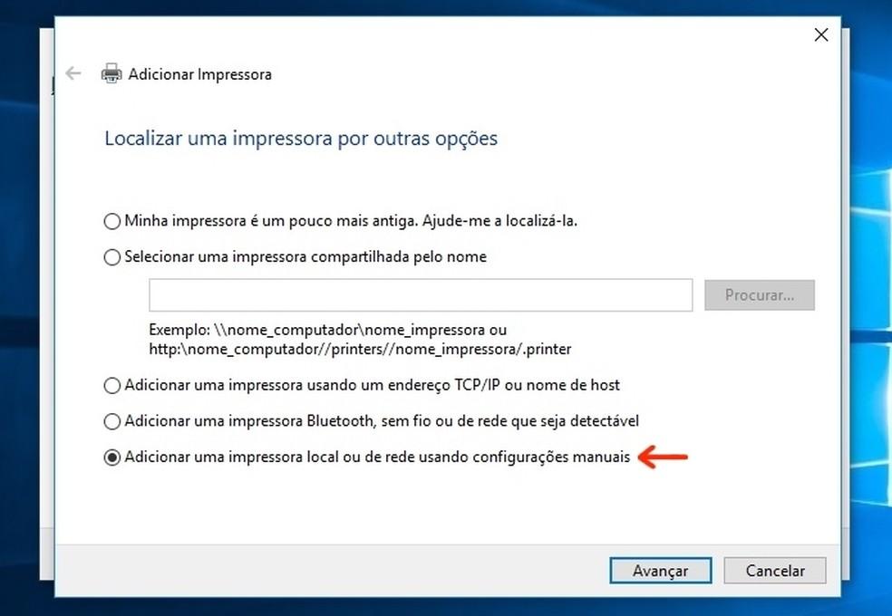 Seleção de opção para adicionar impressora manualmente no Windows 10  (Foto: (Foto: Reprodução/Raquel Freire))
