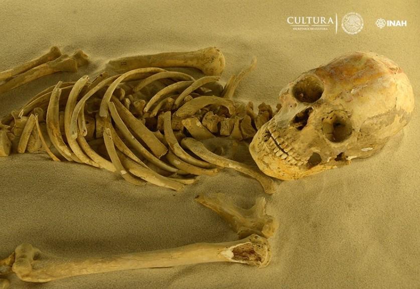 Esqueleto encontrado no México (Foto: Divulgação/INAH)