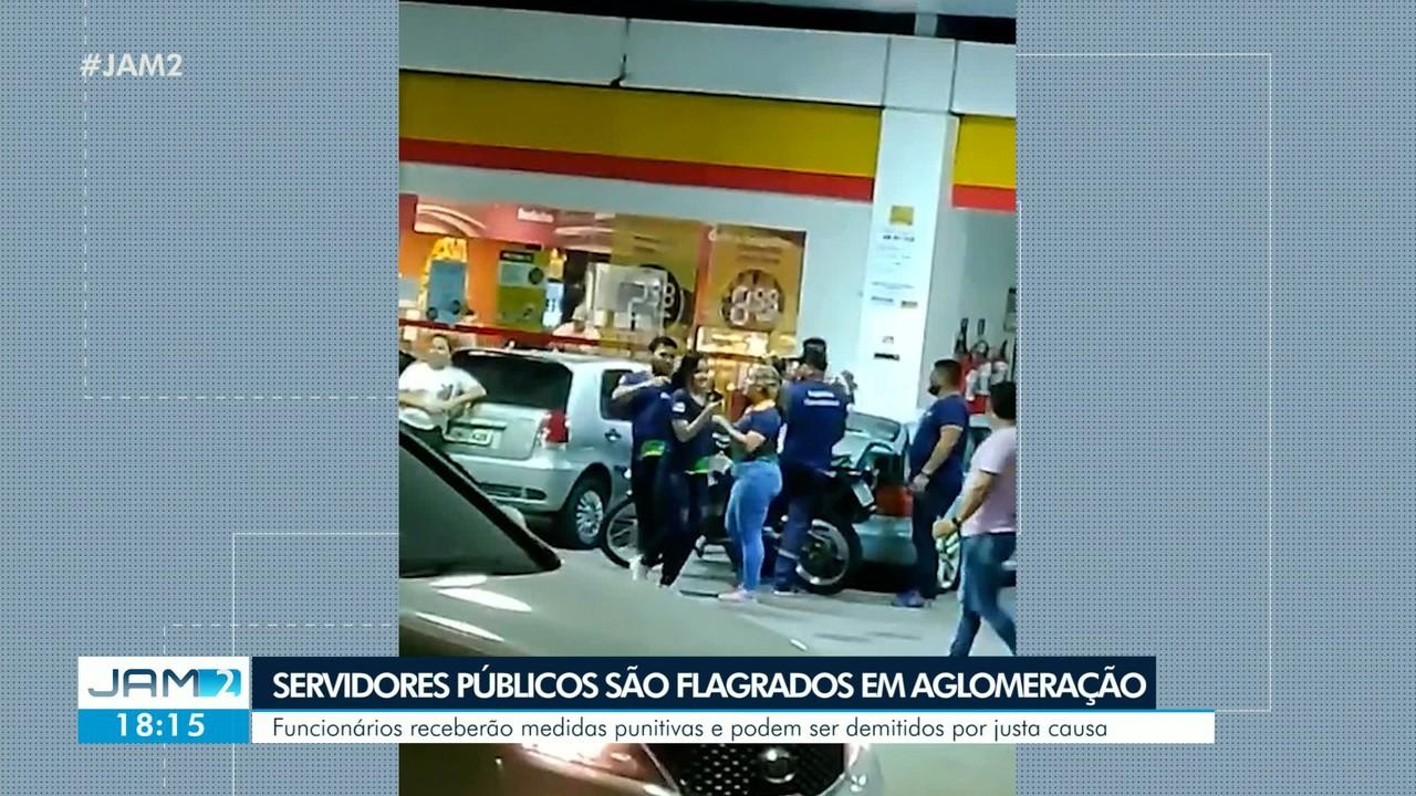 Funcionários do Detran são flagrados em aglomeração em Manaus