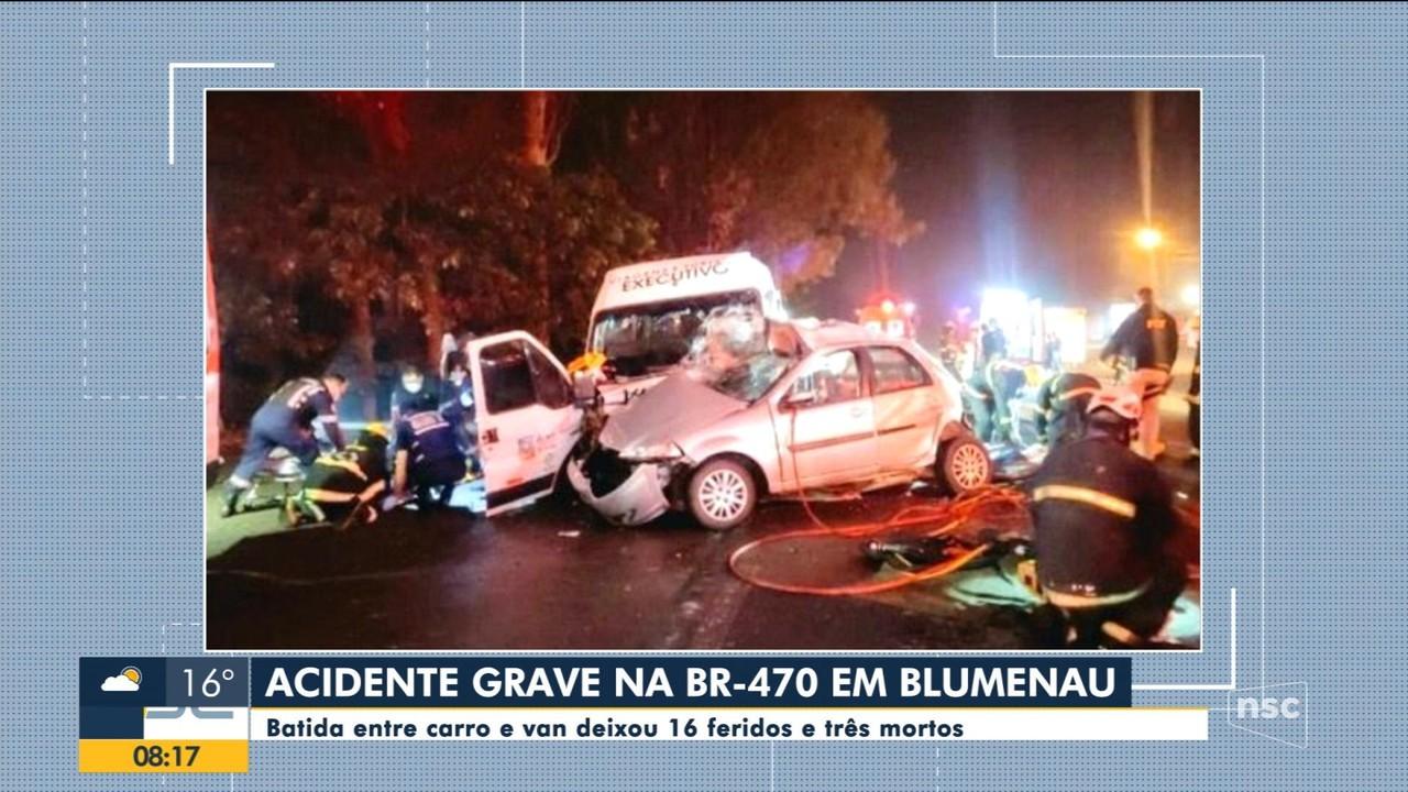 Grave acidente na BR-470 deixa três mortos e 17 feridos