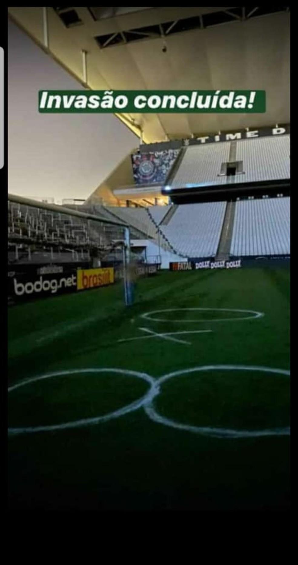 Foto que está sendo usada pela Polícia na investigação da invasão da Arena Corinthians — Foto: Reprodução