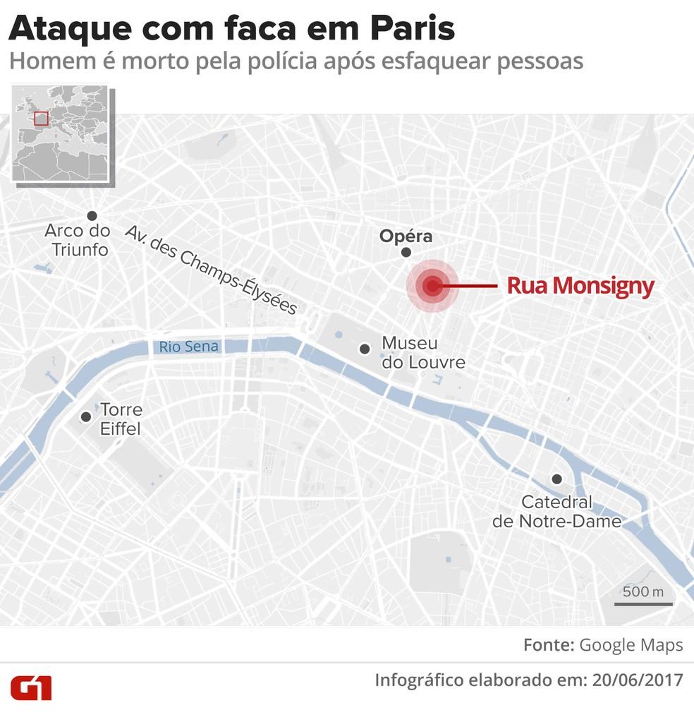 Mapa de ataque a faca em Paris (Foto: Alexandre Mauro/G1)