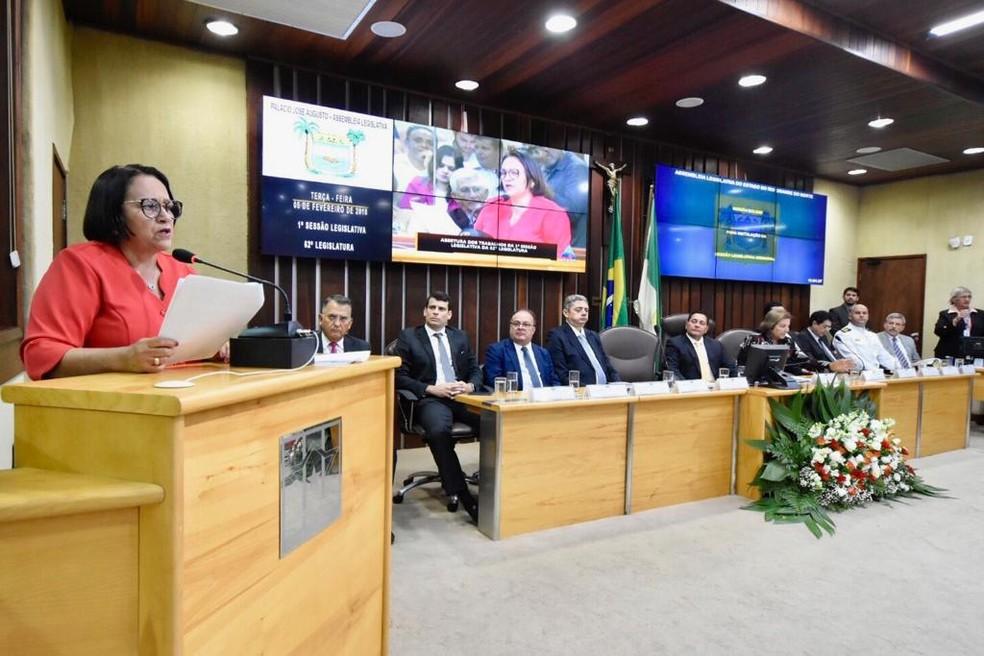 Governadora lê mensagem anual na Assembleia Legislativa do RN — Foto: João Gilberto/ALRN