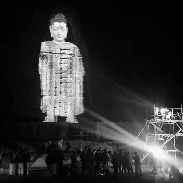 Holograma de Buda no Afeganistão (Foto: Twitter/ZheelaJ)