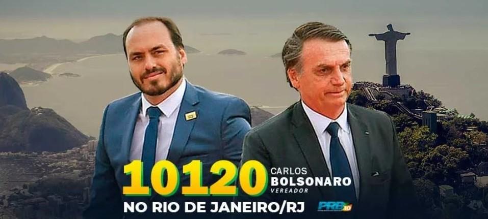 'Santinho virtual' de Carlos Bolsonaro não traz imagem do prefeito Marcelo Crivella