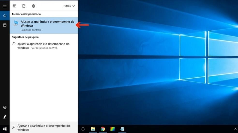 Abertura da ferramenta Ajustar a aparência e o desempenho do Windows (Foto: Reprodução/Raquel Freire)