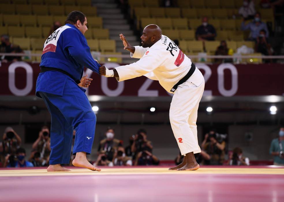 Rafael Silva x Teddy Riner, judô, Olimpíadas de Tóquio 2020 — Foto: REUTERS/Annegret Hilse