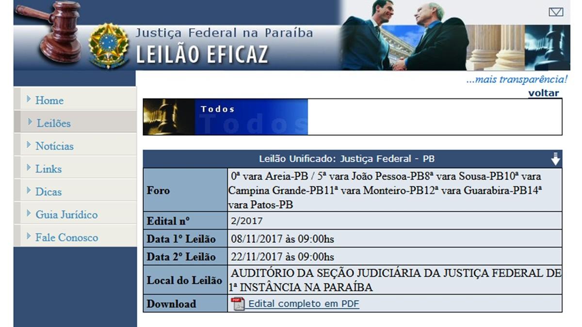 Novo leilão da Justiça Federal na Paraíba acontece nesta quarta