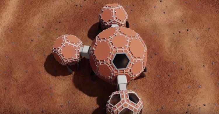 Incubadora de Marte criou uma estrutura laranja que conecta quatro zonas distintas com pontes (Foto: Divulgação/Nasa)