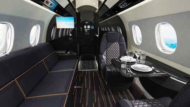 Interior do Praetor 600 Bossa Nova Edition, da Embraer (Foto: Divulgação)