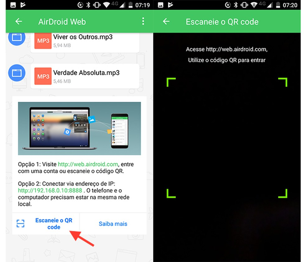 Opo para ler o QR code do AirDroid Web no celular Foto ReproduoMarvin Costa