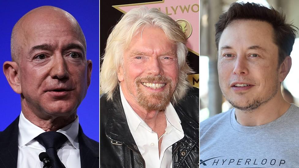 Jeff Bezos, Richard Branson e Elon Musk fizeram fortuna em outros ramos, como a indústria da música e a internet, e querem ser os primeiros a mandar turistas ao espaço (Foto: Getty Images)