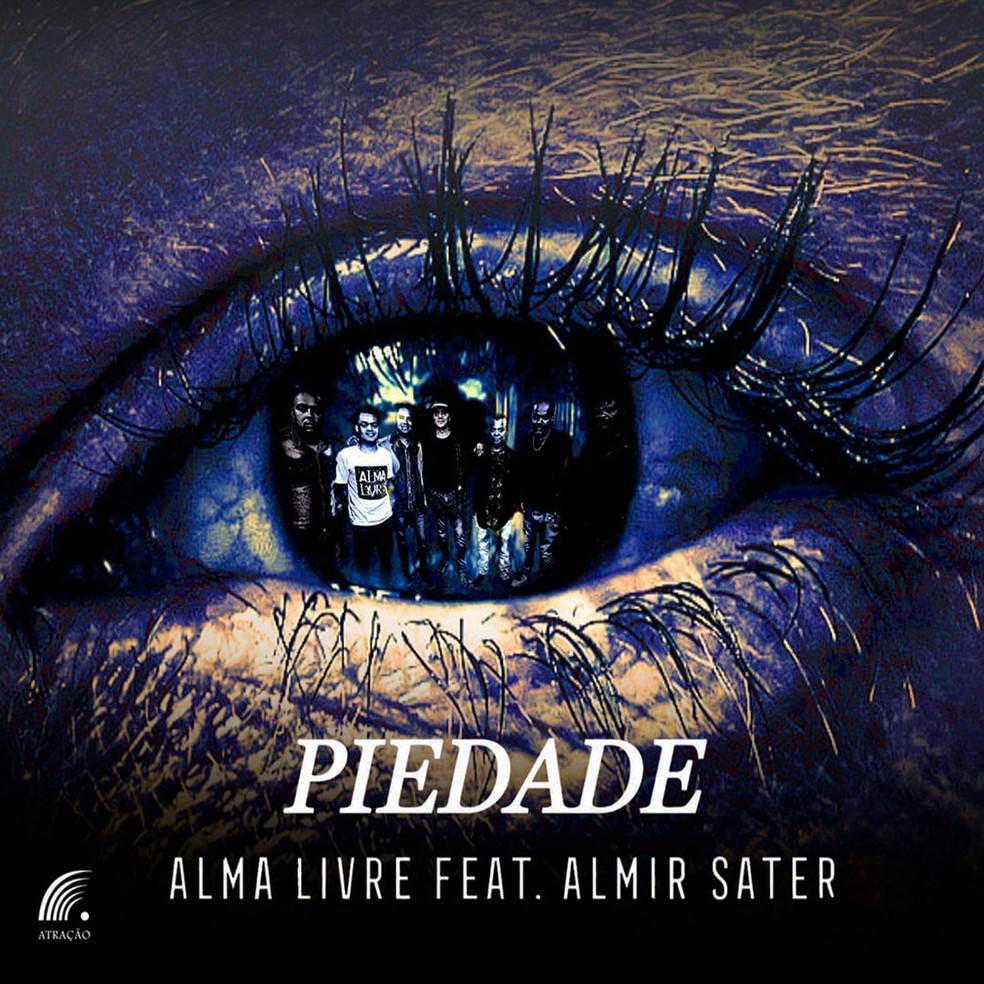 Capa do single 'Piedade', da banda Alma Livre com Almir Sater — Foto: Arte de Júlia Souto