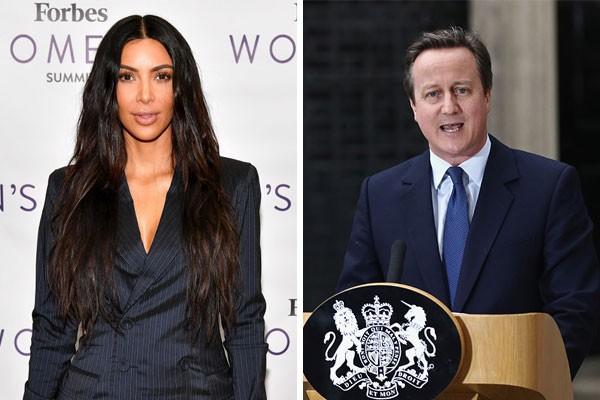 Os primos de décimo terceiro grau Kim Kardashian e David Cameron (Foto: Getty Images)