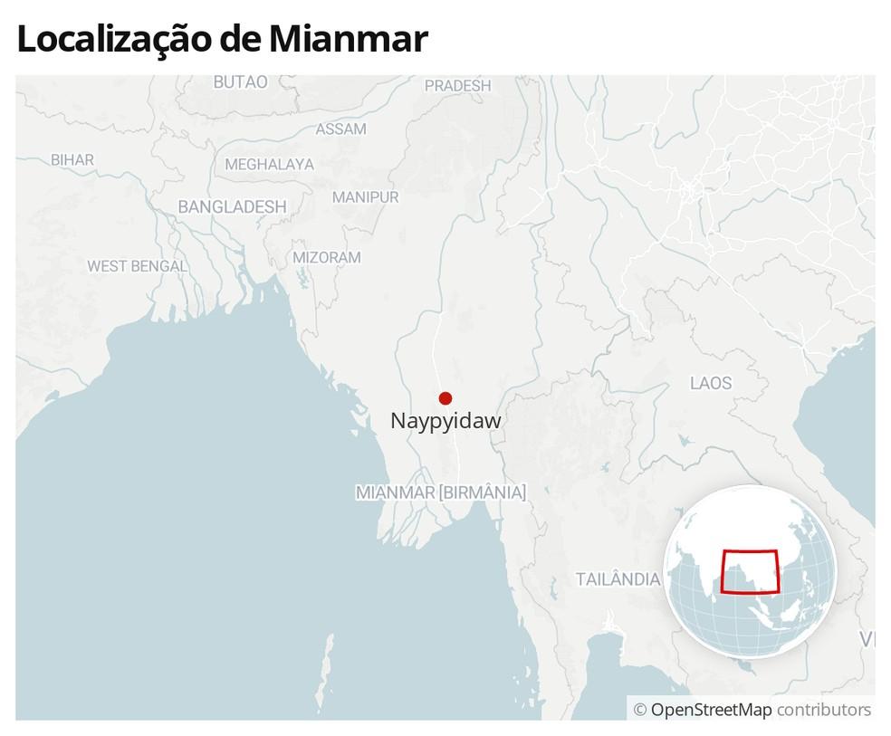 Mapa mostra a localização de Mianmar, com a capital, Naypyiadaw, destacada — Foto: G1