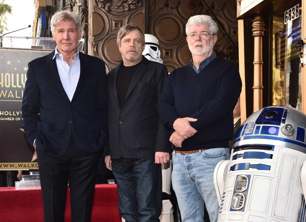 Harrison Ford, Mark Hamill e George Lucas (Foto: Getty Images for Disney)