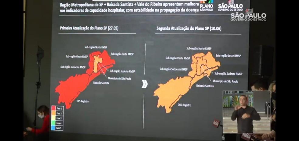 Novo mapa mostra a Baixada Santista e a Grande São Paulo na fase laranja do 'Plano São Paulo' — Foto: Reprodução
