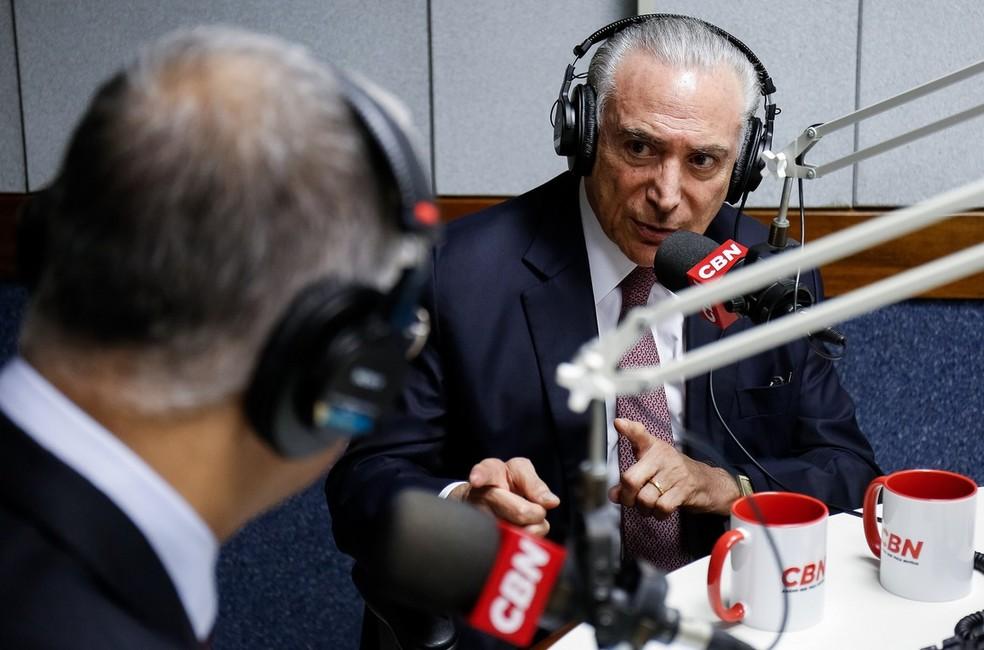 O presidente Michel Temer, durante entrevista à rádio CBN (Foto: Alan Santos/PR)