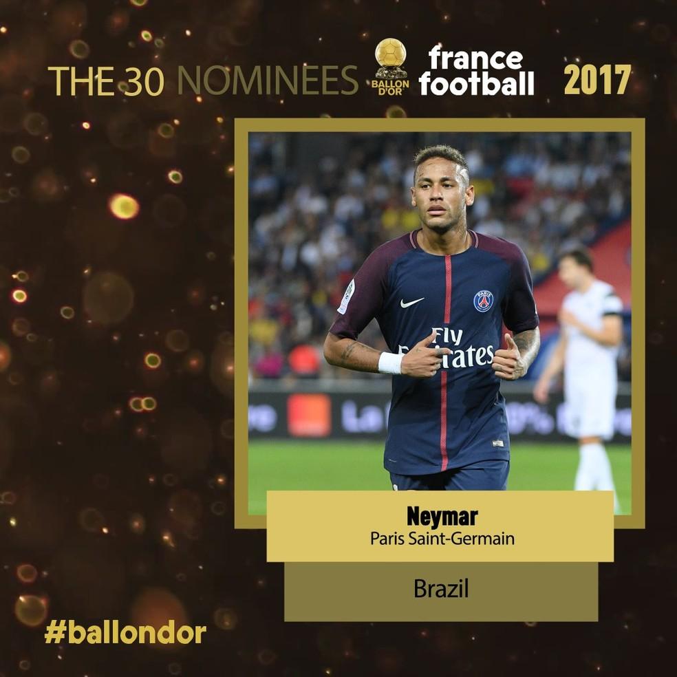 Neymar é um dos candidatos ao prêmio Bola de Ouro (Foto: Reprodução)