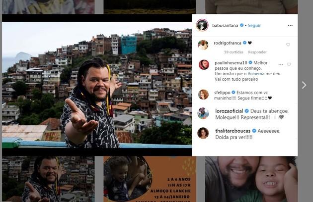 Babu Santana conquistou a torcida do humorista Paulinho Serra, da atriz Samara Felippo, do cantor e ator Serjão Loroza e da escritora Thalita Rebouças (Foto: Reprodução/Instagram)