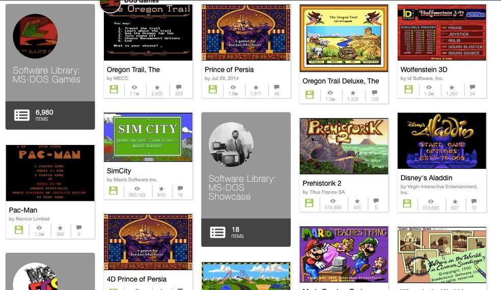 Vários jogos clássicos no Internet Archive — Foto: Reprodução/Felipe Vinha
