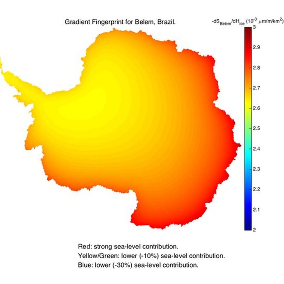 Mapeamento de impressões digitais em gradiente Image caption Belém, apesar de estar mais longe da Antártida, é sensível ao derretimento em todo o continente gelado (Foto: JPL Nasa)