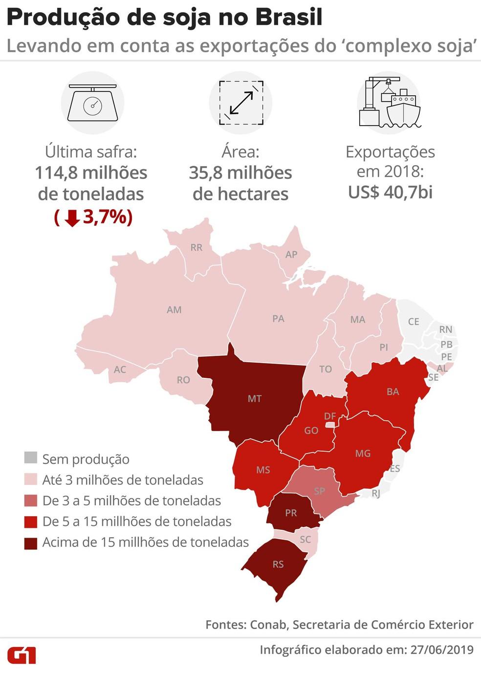 A soja é o principal produto de exportação do agronegócio brasileiro — Foto: Rodrigo Sanches/G1