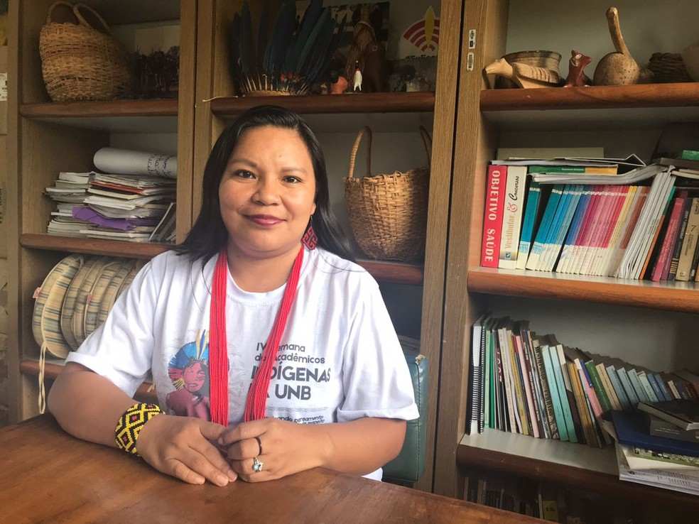 Braulina Aurora, da etnia Damiwa, estuda definições de gênero no meio indígena � Foto: Marília Marques/G1