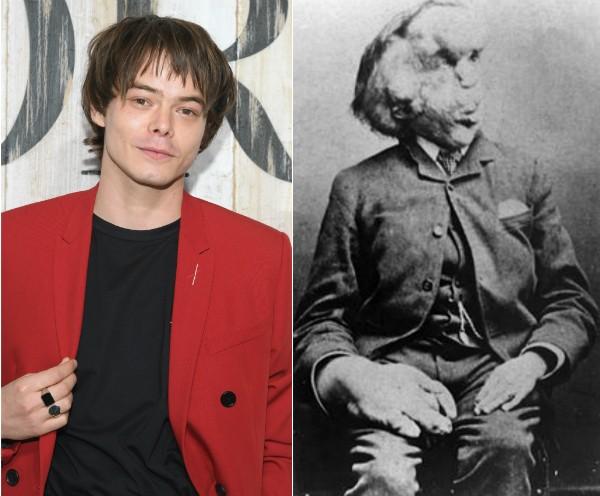 O ator Charlie Heaton e Joseph Merrick (1862-1890) (Foto: Getty Images/Reprodução)