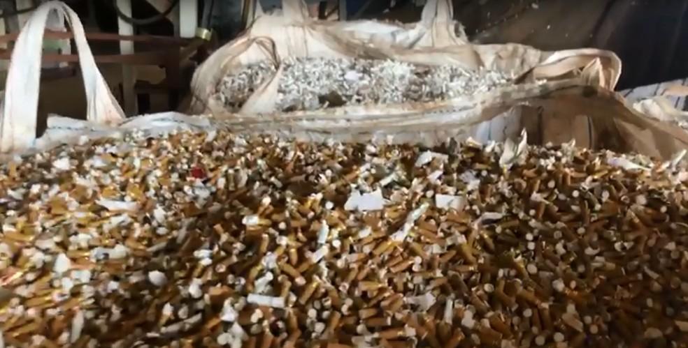 Cigarros serão destruídos pela Receita Federal, em Foz do Iguaçu — Foto: Receita Federal/Divulgação