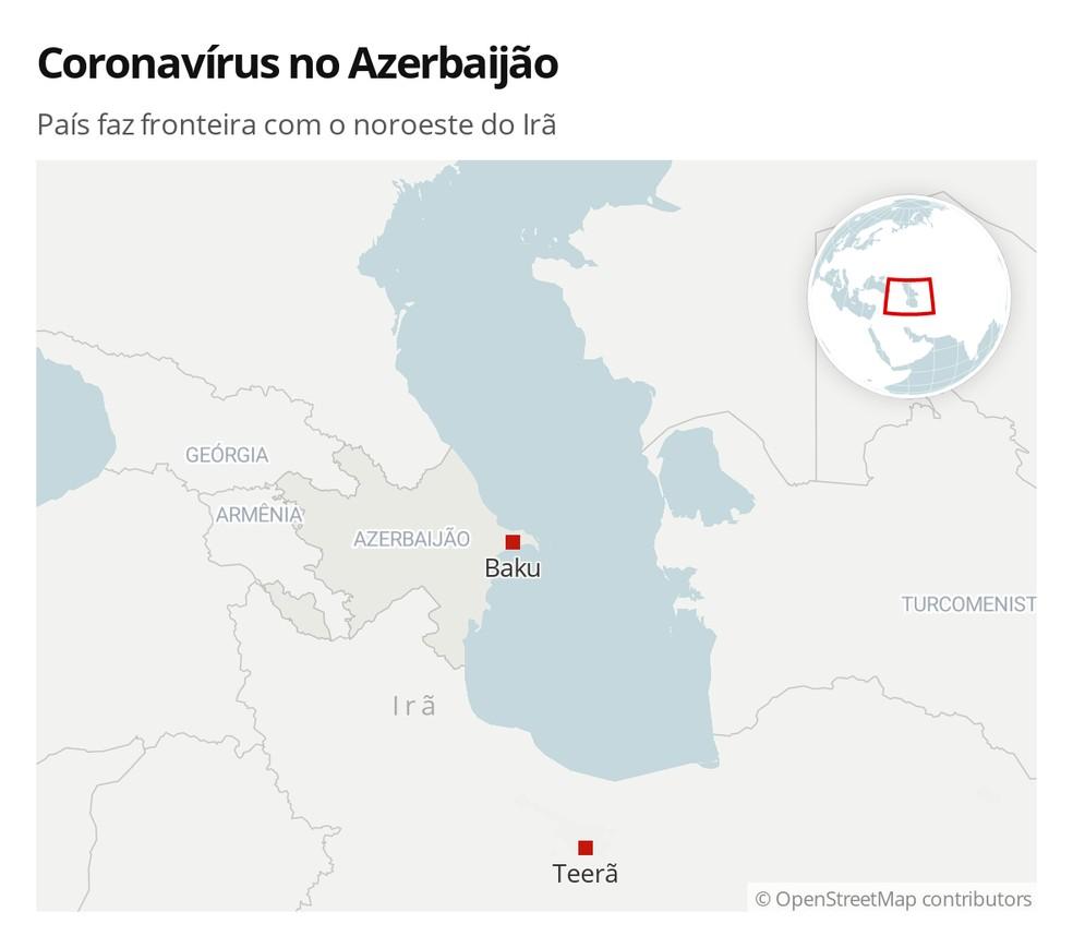 Azerbaijão tem primeiro caso de coronavírus; faz fronteira com o noroeste do Irã — Foto: G1