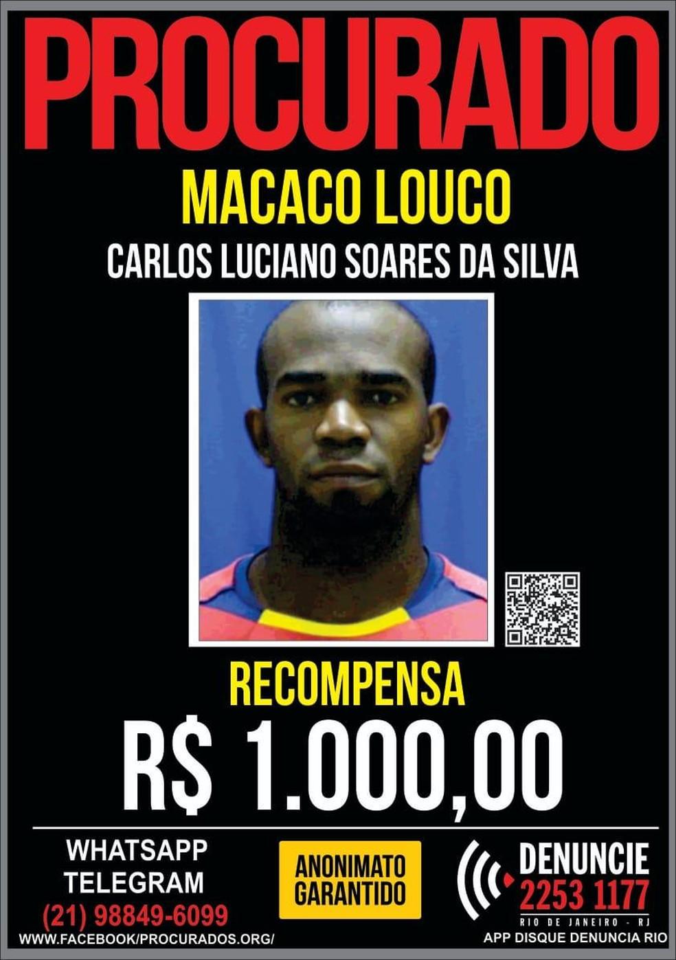 Polícia pede informações sobre Carlos Luciano Soares da Silva, segurança da milícia de Queimados — Foto: Divulgação