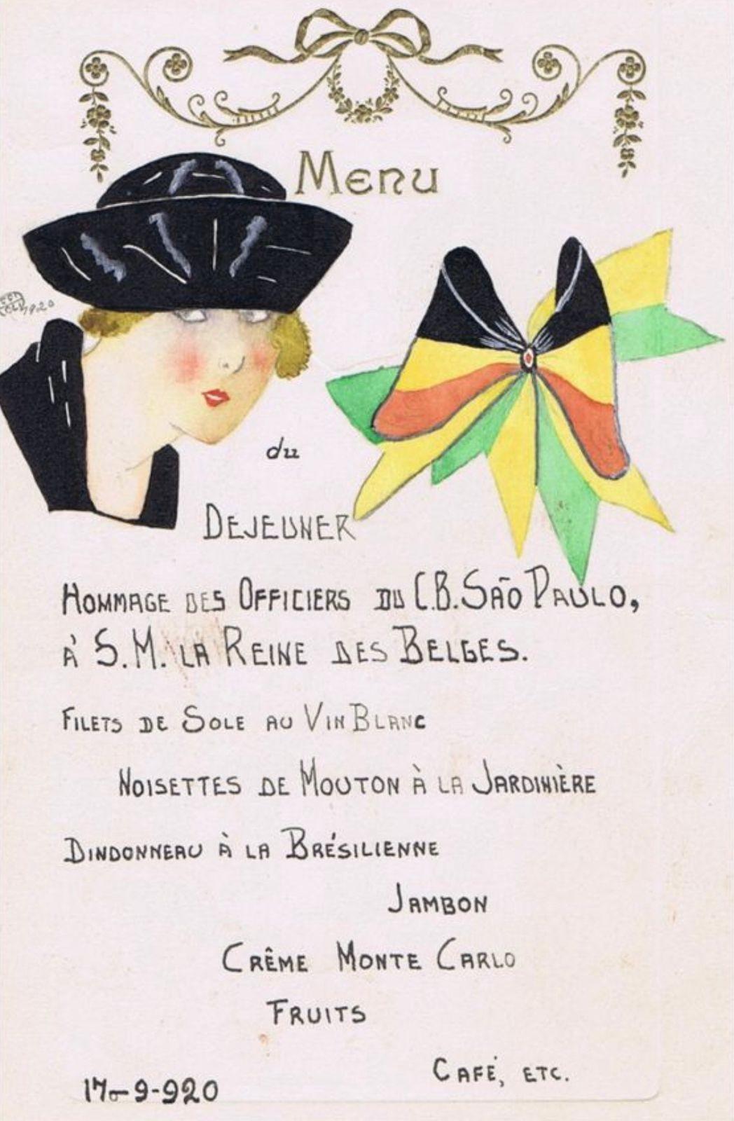 A Confeitaria Colombo  inspirou-se no  menu oferecido para o rei da Bélgica Alberto I  e sua esposa, a Rainha Elisabeth, em passagem pelo Rio em 1920, para festejar seus 127 anos