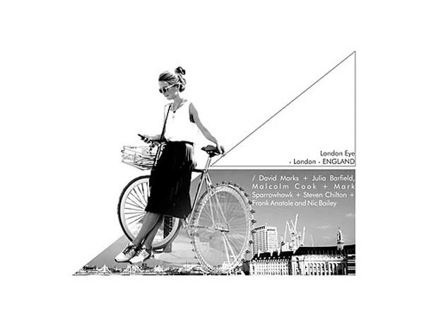 A roda gigante, London Eye, faz parte de uma bicicleta, na colagem (Foto: Filipe Vasconcelos/ Reprodução)