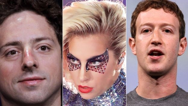 O cofundador do Google, Sergey Brin, Lady Gaga e Zuckerberg, do Facebook, passaram pelo Centro para Jovens Talentosos da Universidade Johns Hopkins (Foto: Getty Images via BBC News Brasil)