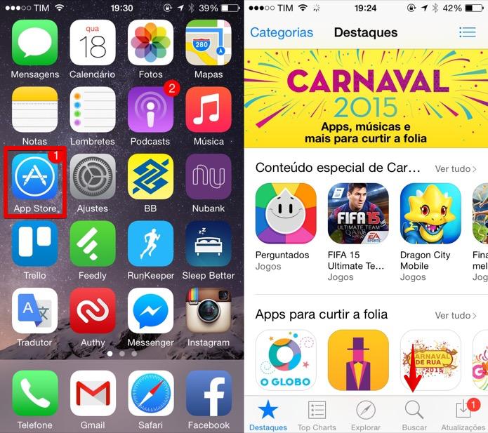 Acesse a loja de aplicativos do iOS (Foto: Reprodução/Helito Bijora)