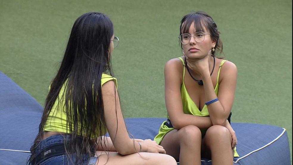 Thaís fala com Juliette sobre relação da sister com Viih Tube: 'Não quero isso seja sempre uma disputa' — Foto: Globo