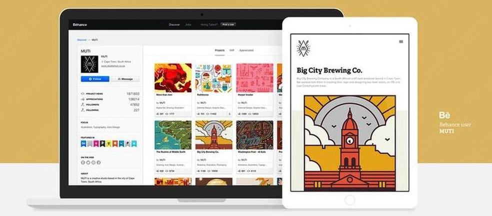 Behance é plataforma da Adobe voltada para criação de portfólios online — Foto: Divulgação/Adobe