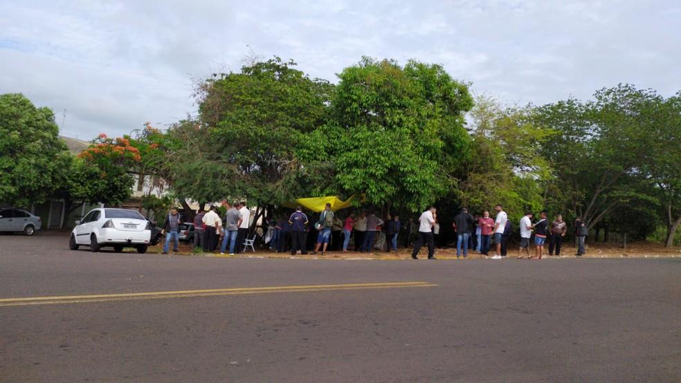 Greve dos trabalhadores da Prudente Urbano continua nesta sexta-feira (30) — Foto: Bruna Bachega/TV Fronteira
