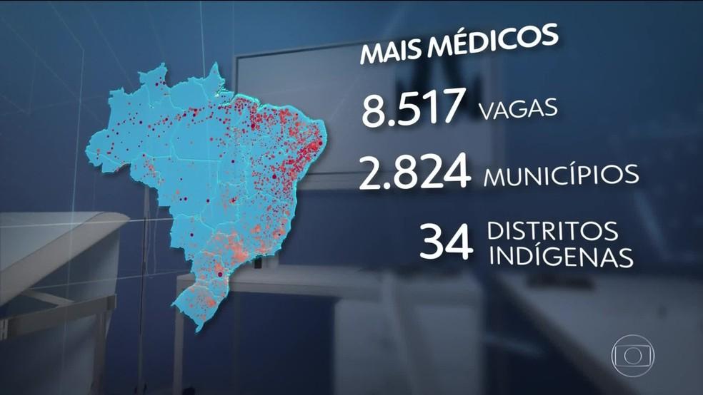 Novo edital do Mais Médicos oferece 8,5 mil vagas para profissionais em 2,8 mil muncípios brasileiros — Foto: Reprodução/TV Globo