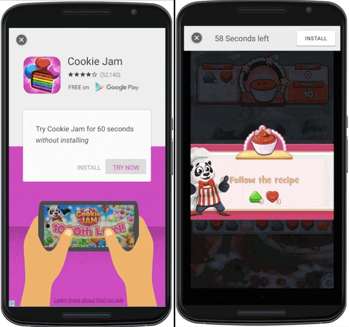 Anúncio vai permitir que usuários testem aplicativos. Durante o teste, contador registra o tempo restante no topo da tela (Foto: Divulgação/Google)