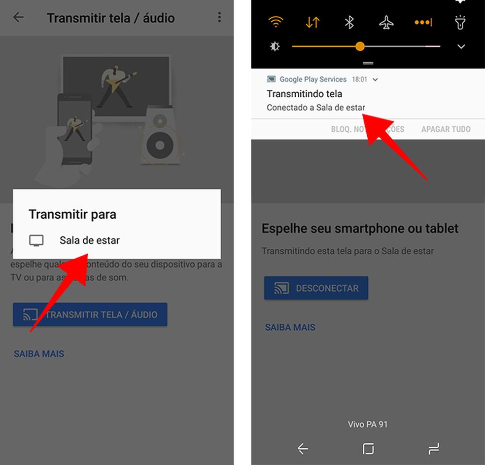 Conecte-se ao Chromecast para começar a espelhar — Foto: Reprodução/Paulo Alves